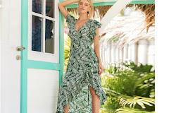 46cebeccae44 Floral Dress Summer Butterfly Sleeve Vacation Clothing Women Beach Ruffle  Dress Casual Dresses Hippie Beach Dress Vestidos