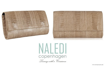 Crown Princess Mary NALEDI Kopenhagen Allana Latte Ostrich Clutch