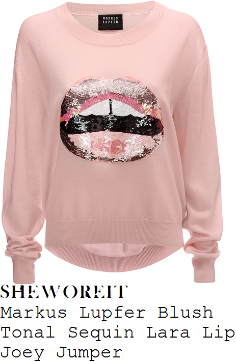 stephanie-pratt-markus-lupfer-lara-blush-pink-black-and-white-sequin-embellished-lip-motif-detail-long-sleeve-relaxed-fit-merino-wool-joey-jumper