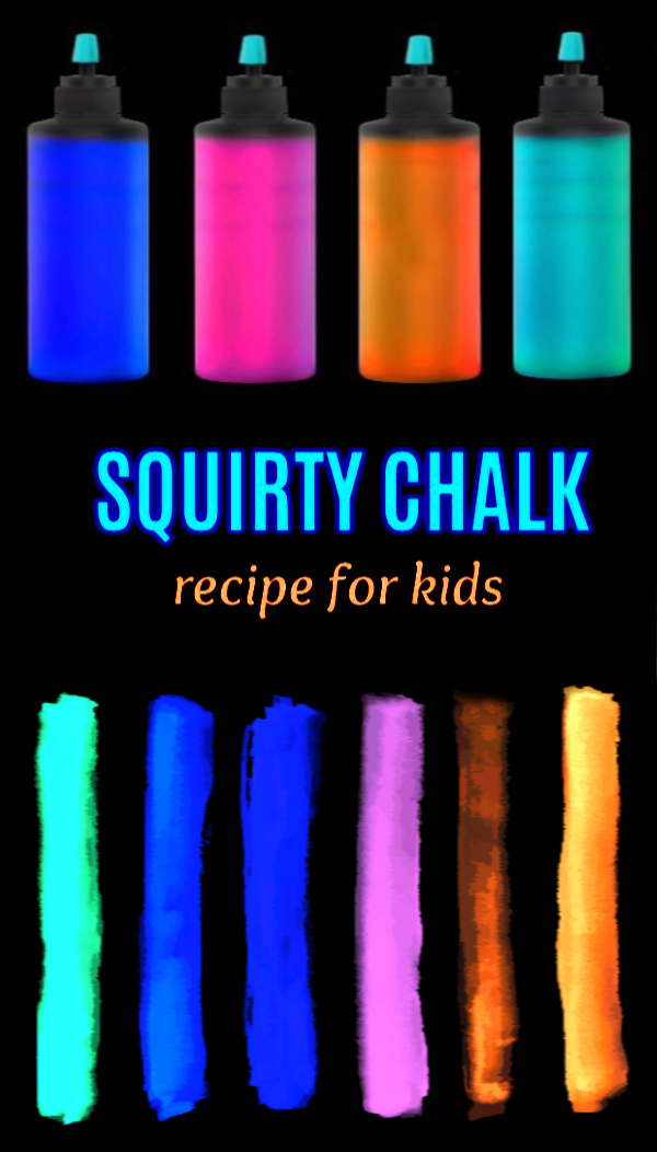 Make sidewalk squirty chalk that glows in the dark!  How cool is that?? My kids absolutely loved this activity! #sidewalkchalkart #sidewalkchalk #sidewalkchalkideas #chalkart #chalkpaint #chalkrecipe #squirtychalk #squirtychalkrecipe #squirtysidewalkchalk #glowchalk #glowinthedark #growingajeweledrose