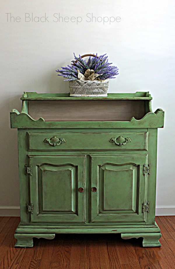 Dry sink painted in custom mix of Antibes Green Chalk Paint. I call the color Vintage Cottage Green.
