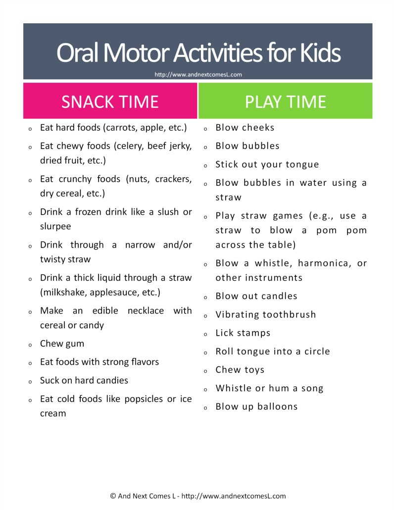 Oral motor sensory activities cheat sheet