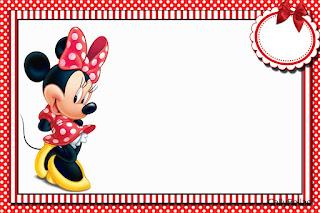 Para hacer invitaciones, tarjetas, marcos de fotos o etiquetas, para imprimir gratis de Minnie en Rayas Rojas.