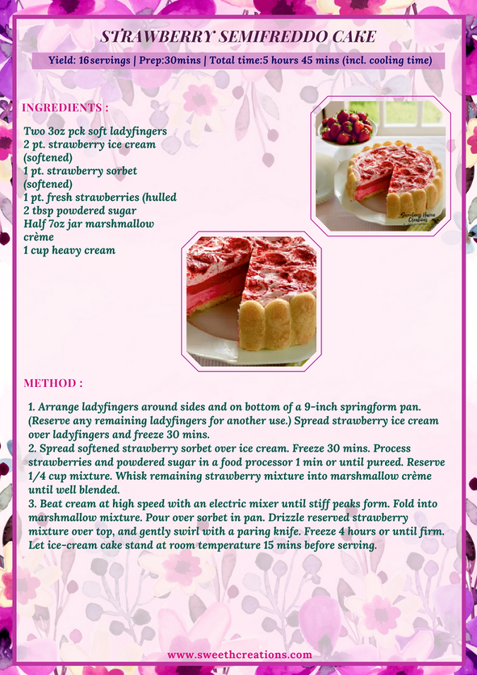 STRAWBERRY SEMIFREDDO CAKE RECIPE