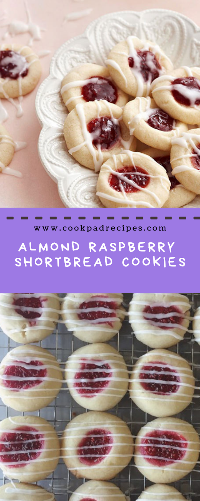 Almond Raspberry Shortbread Cookies #christmas #cookies