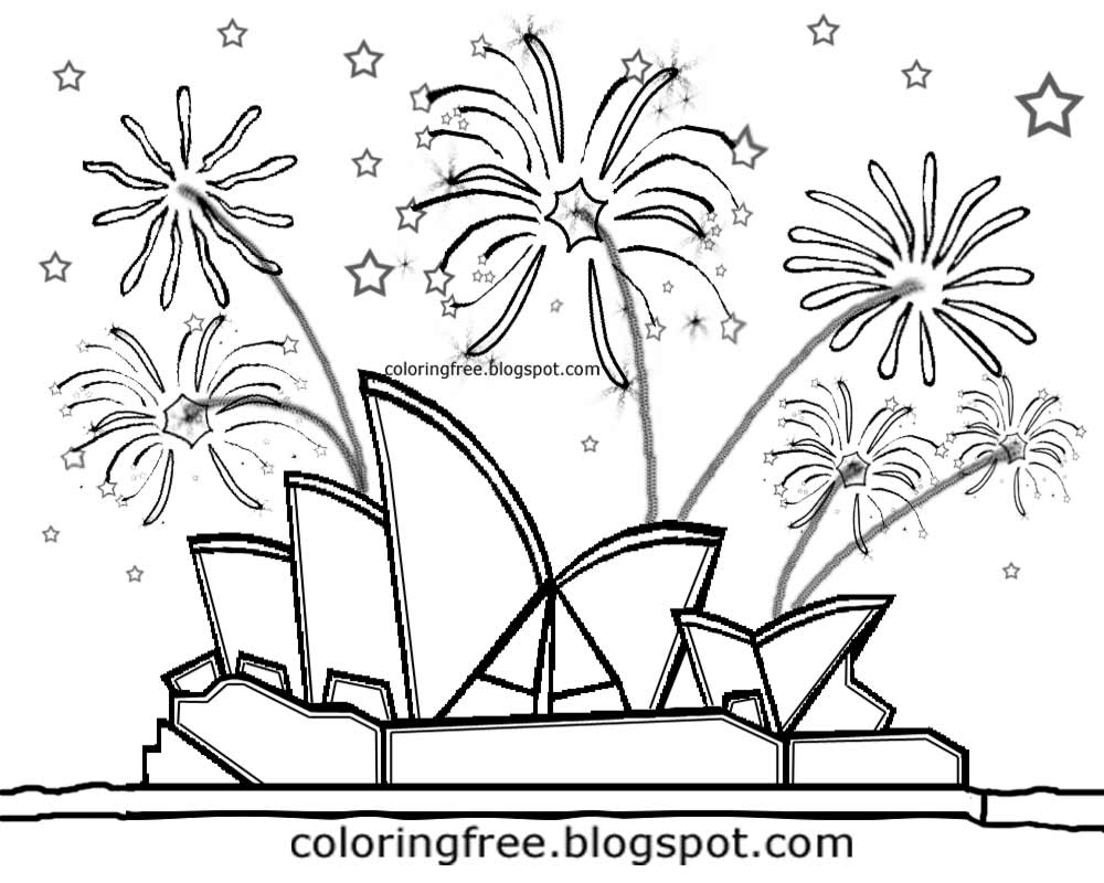 Night sky fireworks kids drawing australia printable sydney opera house colouring famous buildings