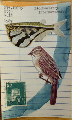 fish bird sparrow german postage stamp tractor library card Fluxus Dada mail art collage