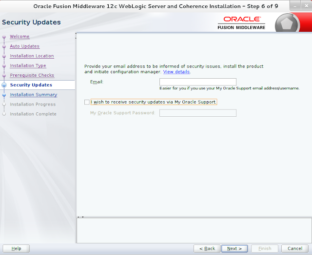 Weblogic Server Installation wizard screen 6