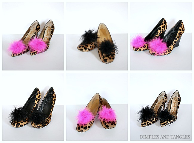 DIY designer shoe look for less, leopard heels, feather shoe clip, leopard flats