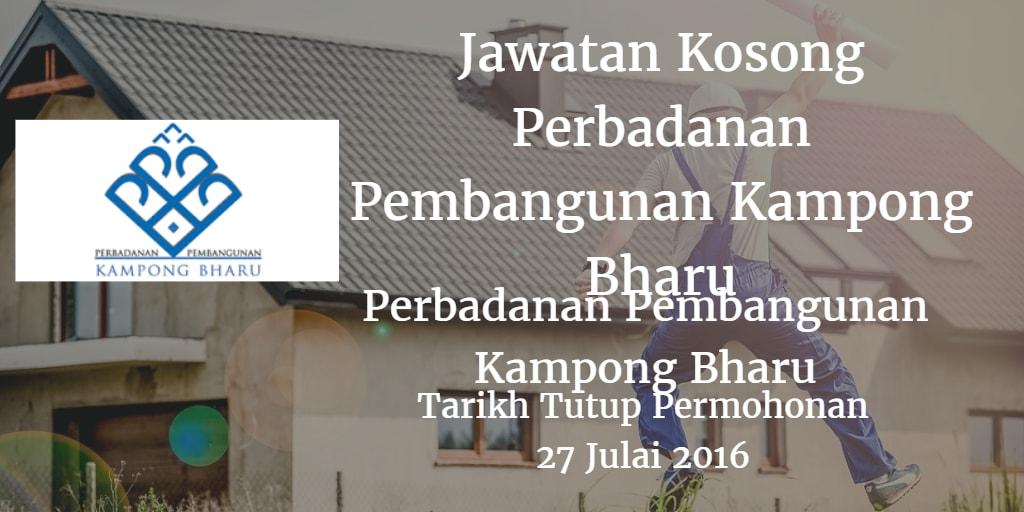 Jawatan Kosong Perbadanan Pembangunan Kampong Bharu 27 Julai 2016