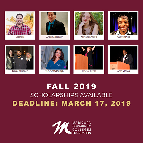 Poster featuring 8 previous MCCCDF scholar photos.  Text: Fall 2019 Scholarships Available.  Deadline: March 17, 2019