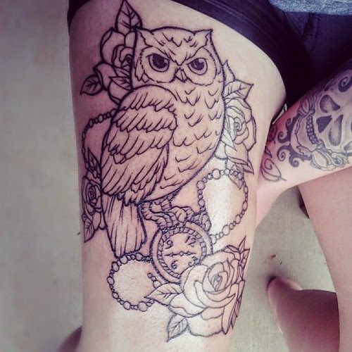 Upper Thigh Tattoo Templates: 15 Amazing Owl Tattoos On Thigh For Girls