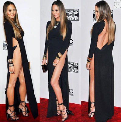 ChrissyTeigen apologizes for exposing her privates after she suffered wardrobe malfunction at the AMA 2016 (18+)