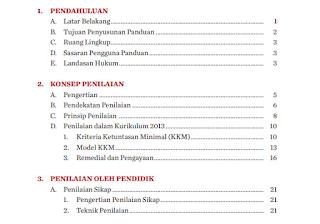 Daftar Isi Juknis Penilaian Kurikulum 2013
