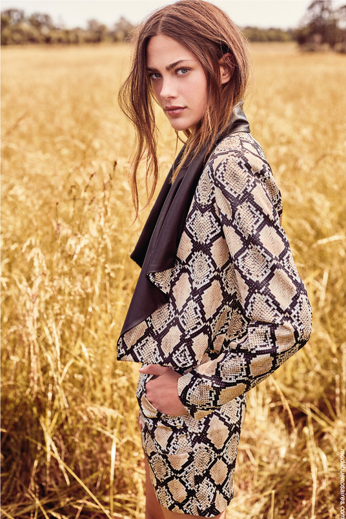 Trajes animal print reptil invierno 2019 mujer argentina.