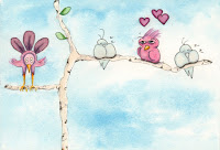 Whimsical Birds in Love Birch Tree Watercolor Painting Illustration