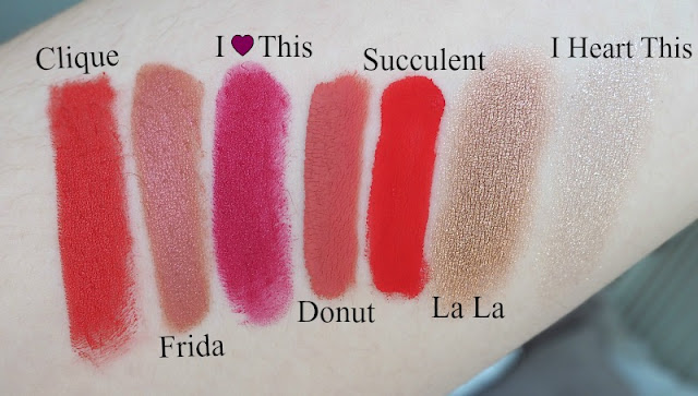 A picture of Colourpop makeup swatches