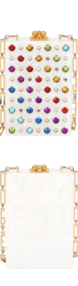 Edie Parker Carol Rainbow Stud Clutch Bag, White/Rainbow