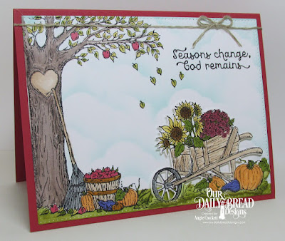 ODBD Seasons Change, ODBD Custom Wheelbarrow Die, ODBD Autumn Tree, ODBD Custom Pierced Rectangles Dies, ODBD Custom Clouds and Raindrops Dies, Card Designer Angie Crockett