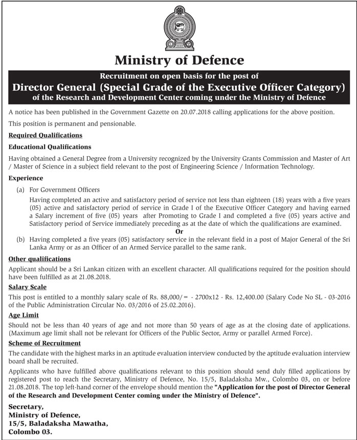 Director General - Special Grade of the Executive Officer Category  Ministry of Defence