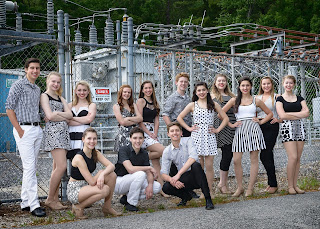 The 14 singer-dancers of Electric Youth 2016 are pictured in this portrait photo. Electric Youth performs two free outdoor summer concerts in Franklin and Norfolk in July, backed by the group's eight-piece show band