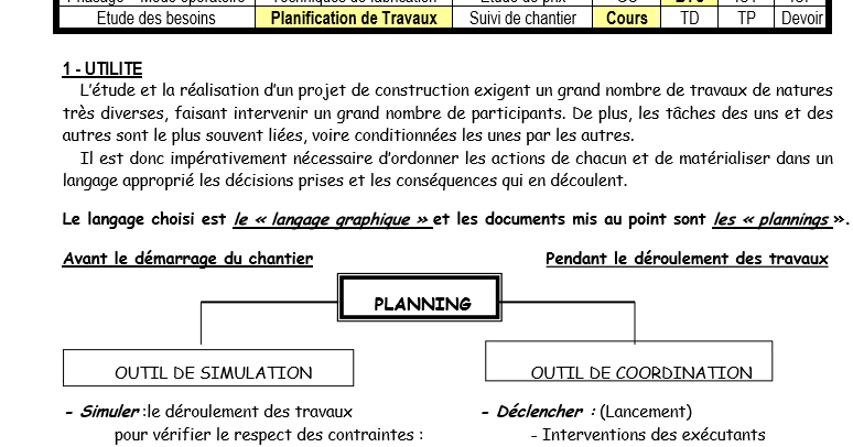 cours planification pr u00e9paration chantier