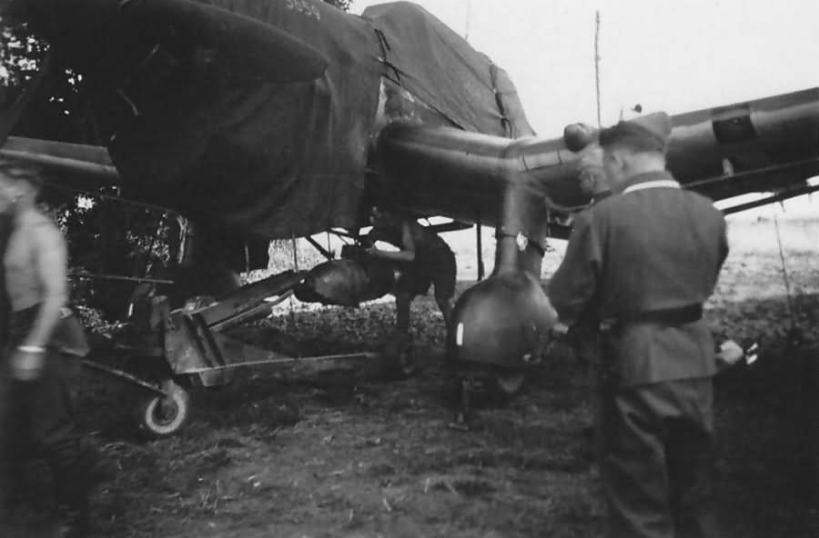 4 August 1940 worldwartwo.filminspector.com Ju 87-B Stuka loading bombs