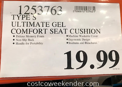 Deal for the Type S Comfort Gel Seat Cushion at Costco