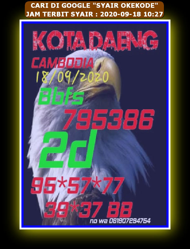 Kode syair Hongkong Sabtu 19 September 2020 62
