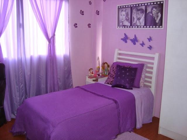 Dormitorios para chicas en color lila dormitorios for Habitacion lila y blanca
