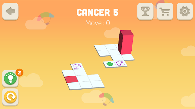 Bloxorz Cancer Level 5 step by step 3 stars Walkthrough, Cheats, Solution for android, iphone, ipad and ipod