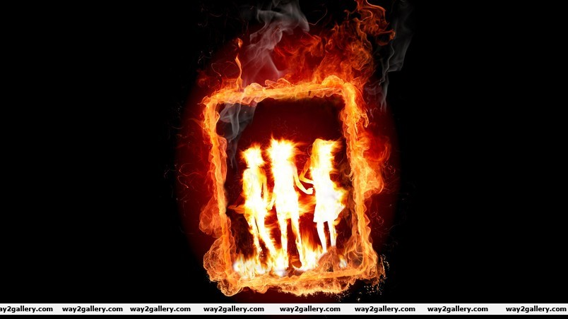 Girl frame in fire wallpaper