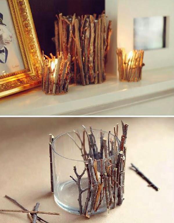 twigs glued to glass as a votive @hearthandmadeuk