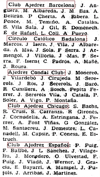 Listado 4 de los equipos de Preferente de 1961