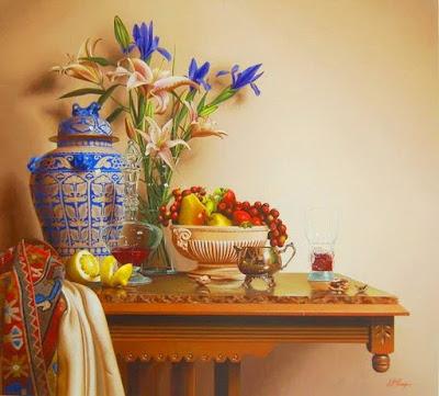mesas-de-madera-con-flores-y-frutas-bodegones-mark-thompson