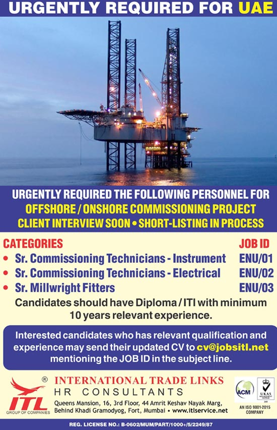 Instrument, Electrical & Millwright Jobs in Offshore/Onshore