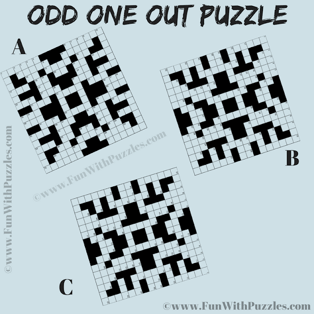 Is it Odd One Out Puzzle in which your task is find the crossword picture which is different from other two pictures