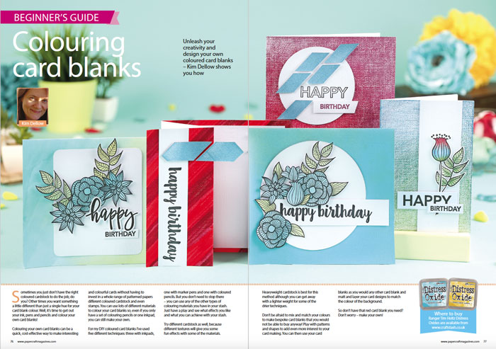 Inside view of the Colouring Card blanks article by Kim Dellow in Papercraft Essentials Issue 153