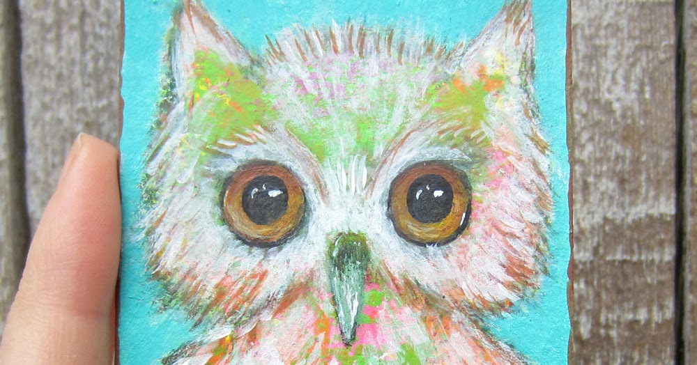 Peaceofpi Studio Folk Art Owl Acrylic Paintings