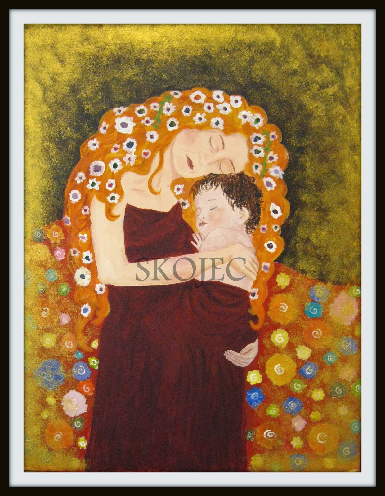 Art class ideas: Mother and Child Inspired by Gustav Klimt