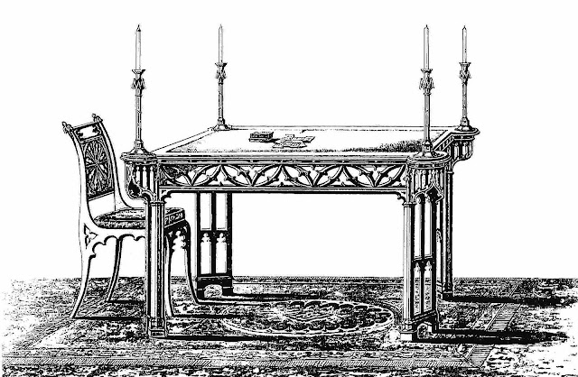 1830 gothic games table, large illustration