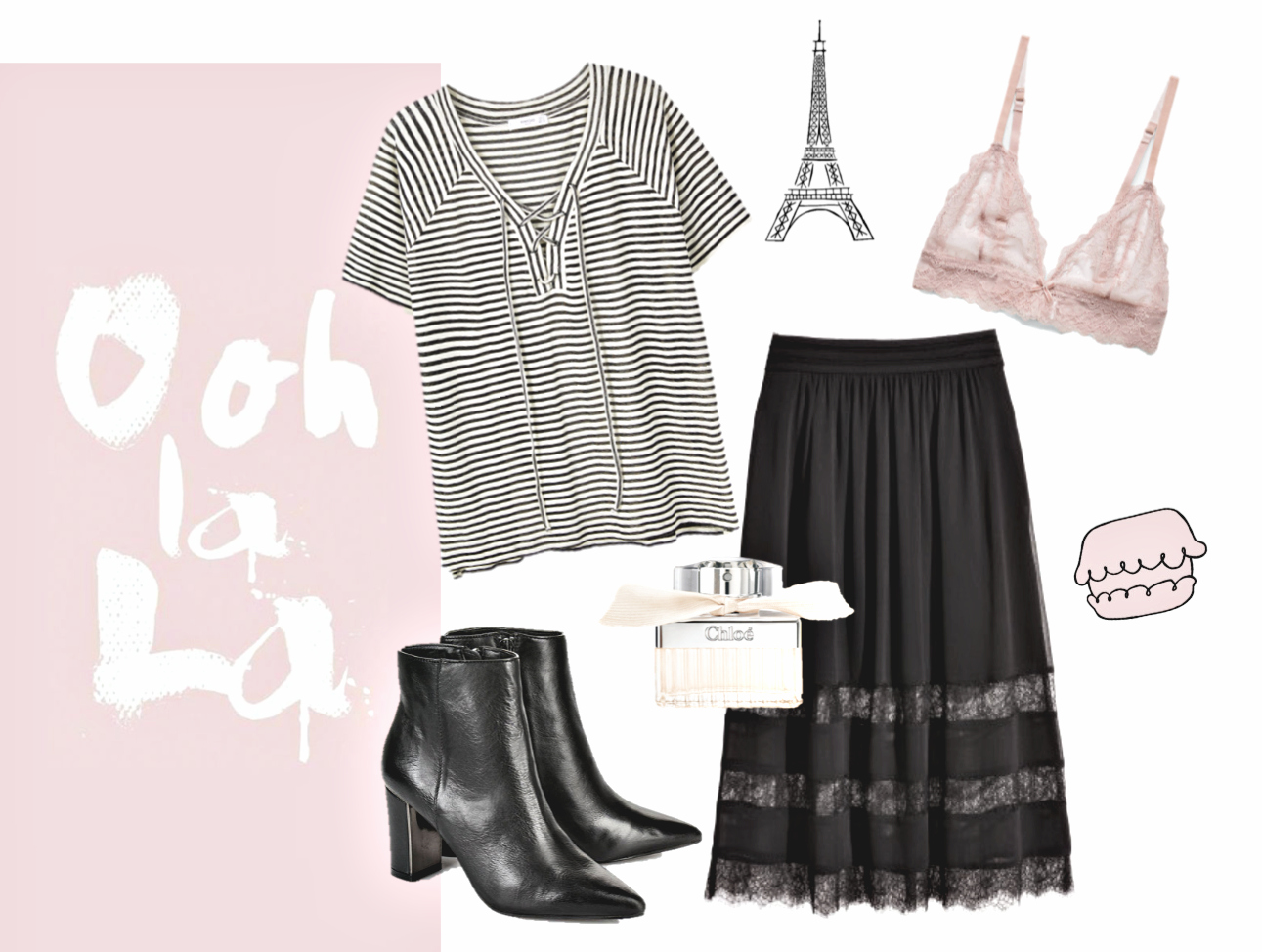 French-Style-Stil-Mango-Shirt-Spitzen-Rock-H&M-Ankleboots-Buffalo-Chloé-Parfum-Spitzen-BH-Bustier-Mango-Rosé-Paris-Travel
