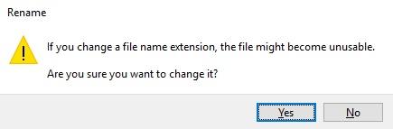 Peringatan Mengubah Ekstensi File