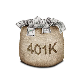 401K Retirement  Money saved in a bag