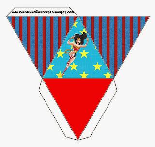 Caja con forma de pirámide de Mujer Maravilla.