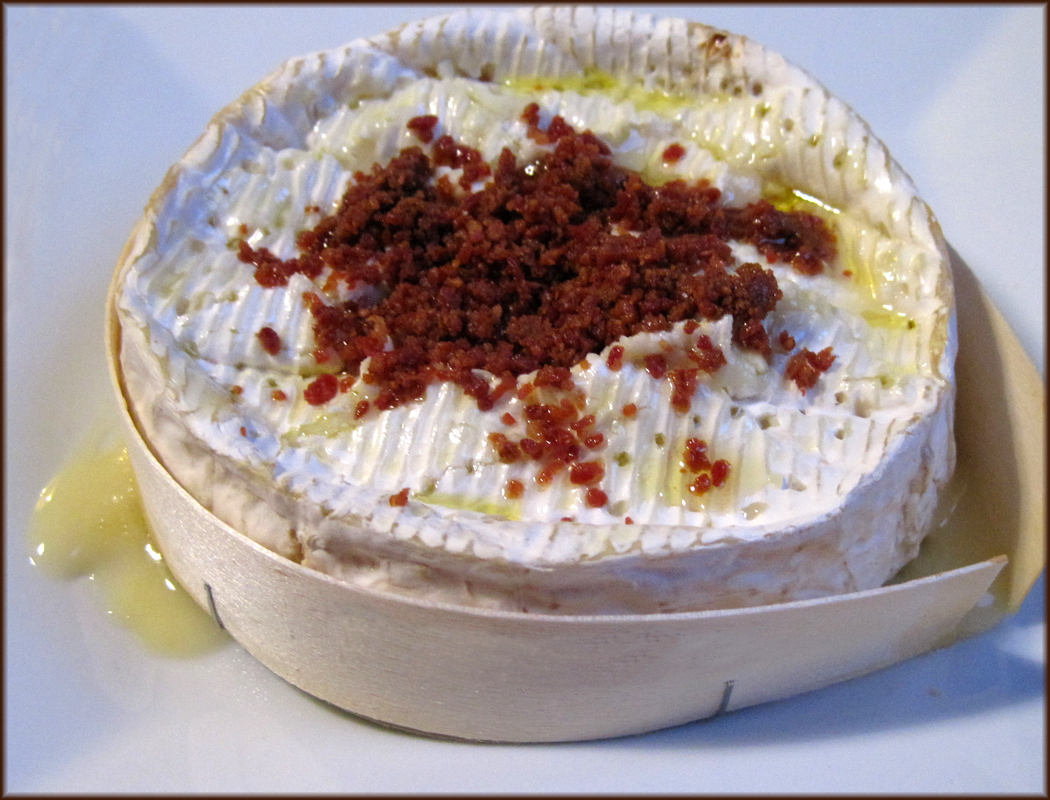 Camembert Baked in the Box with Bacon Dust
