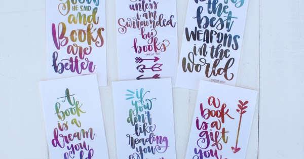 Calligraphy Book Lover Quotes Free Bookmark Printable Book Worm Week