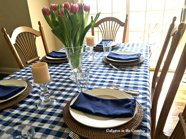 Casual Mother's Day Table Setting with blue and white checks