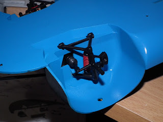 Front suspension fitted to Tamiya Porsche 910