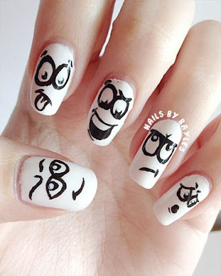 Nail design with faces